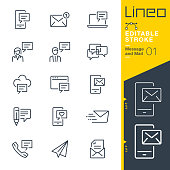 istock Lineo Editable Stroke - Message and Mail line icons 1167923093