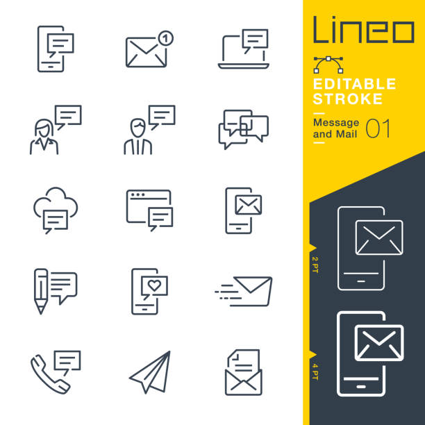 Lineo Editable Stroke - Message and Mail line icons Vector Icons - Adjust stroke weight - Expand to any size - Change to any colour tandvård stock illustrations