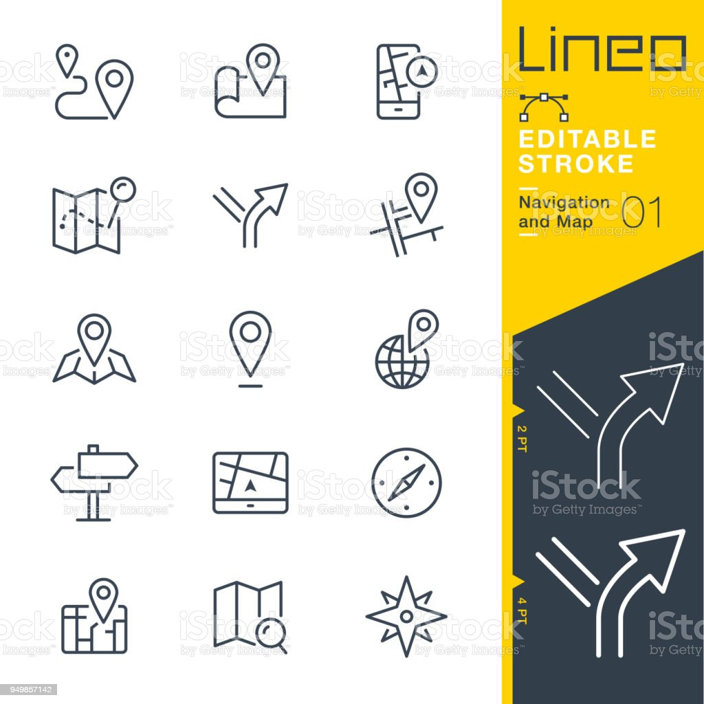Lineo Editable Stroke - Navigation and Map line icons - arte vettoriale royalty-free di Applicazione mobile