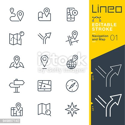 istock Lineo Editable Stroke - Navigation and Map line icons 949857142