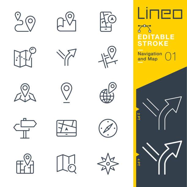 lineo 편집 가능한 뇌졸중-탐색 및 지도 라인 아이콘 - 상징 stock illustrations