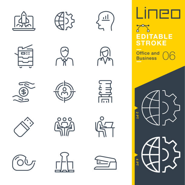 lineo editable stroke - office and business line icons - office job stock illustrations, clip art, cartoons, & icons