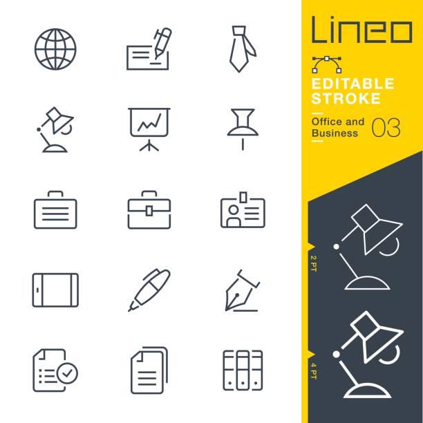 lineo 편집 가능한 뇌졸중-사무실 및 사업 개요 아이콘 - 단정한 사무복 stock illustrations