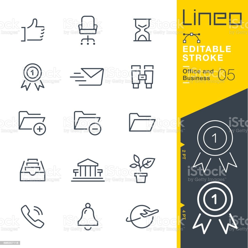 Lineo Editable Stroke - Office and Business outline icons vector art illustration