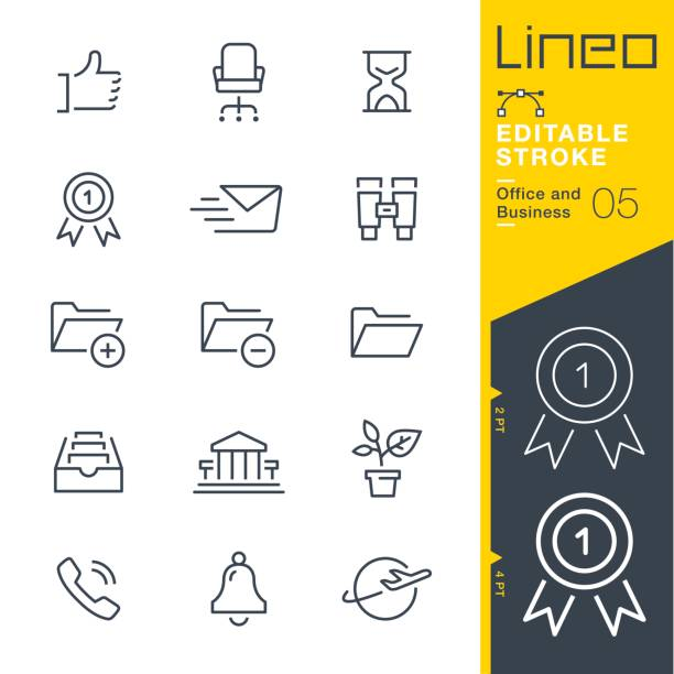 Lineo Editable Stroke - Office and Business outline icons Vector Icons - Adjust stroke weight - Expand to any size - Change to any colour office chair stock illustrations