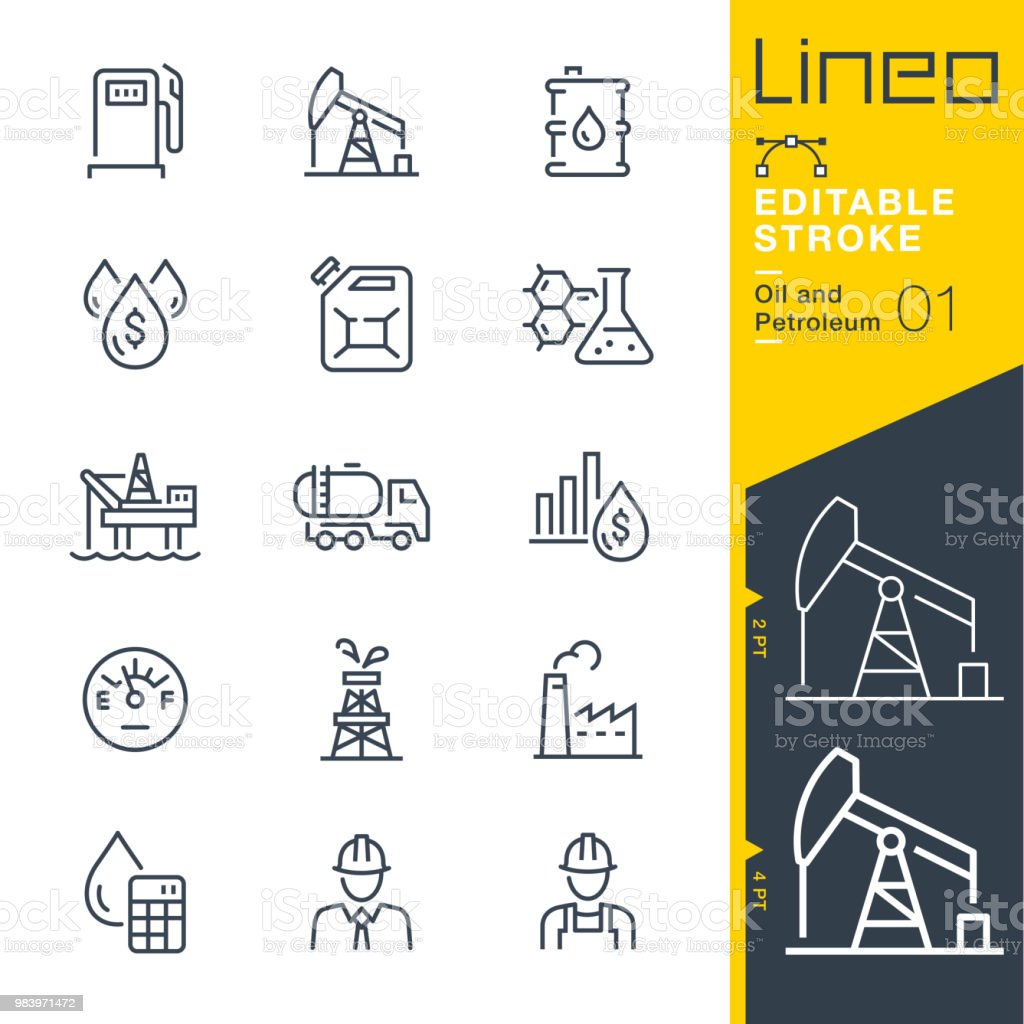 Lineo Editable Stroke - Oil and Petroleum line icons vector art illustration