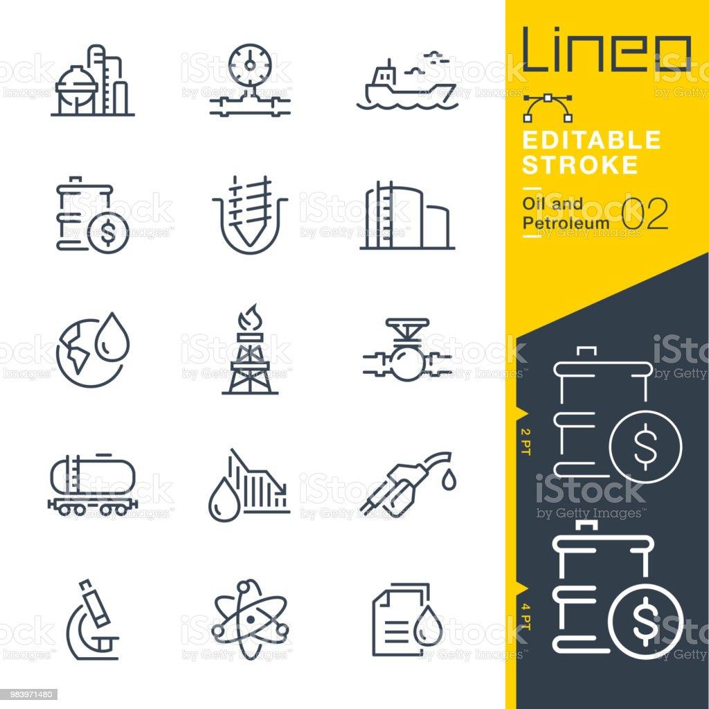 Lineo de movimiento editables - petróleo y línea de iconos - ilustración de arte vectorial