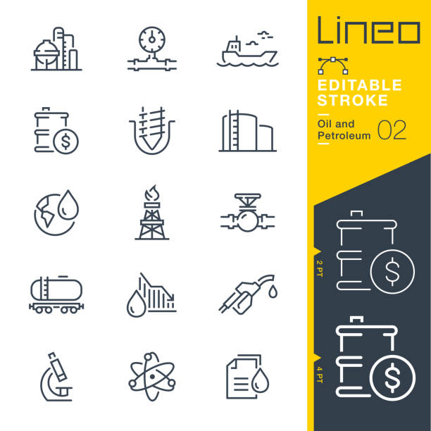 Lineo Editable Stroke - Oil and Petroleum line icons Vector Icons - Adjust stroke weight - Expand to any size - Change to any colour drill stock illustrations