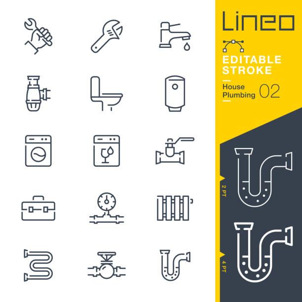 Lineo Editable Stroke - Plumbing line icons vector art illustration