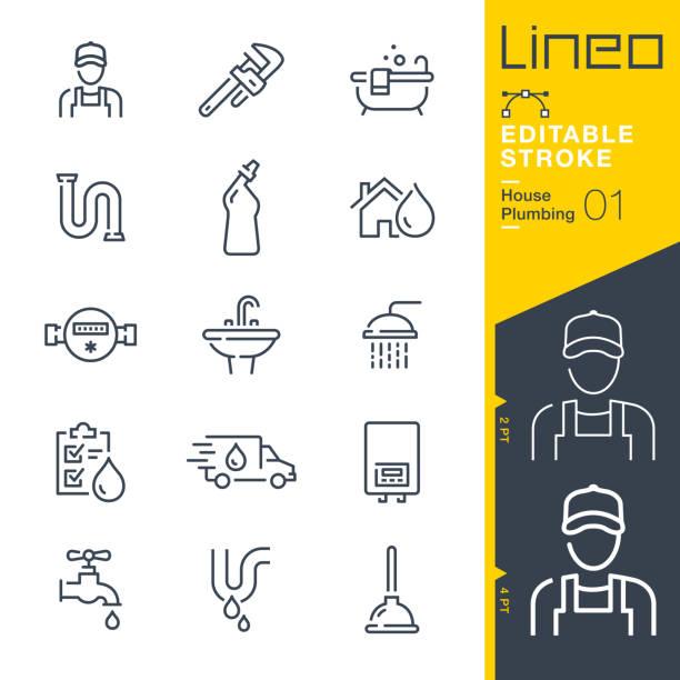 ilustrações, clipart, desenhos animados e ícones de curso editável lineo - ícones da linha de encanamento - encanador