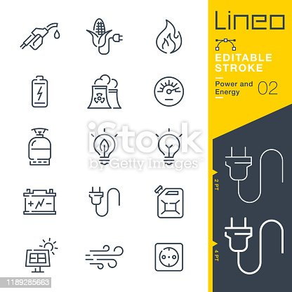 istock Lineo Editable Stroke - Power and Energy line icons 1189285663