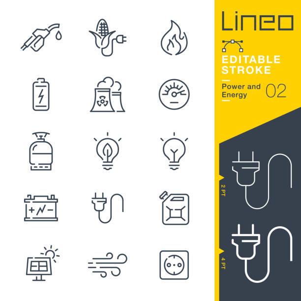 lineo editable stroke - ikony linii zasilania i energii - przewód składnik elektryczny stock illustrations