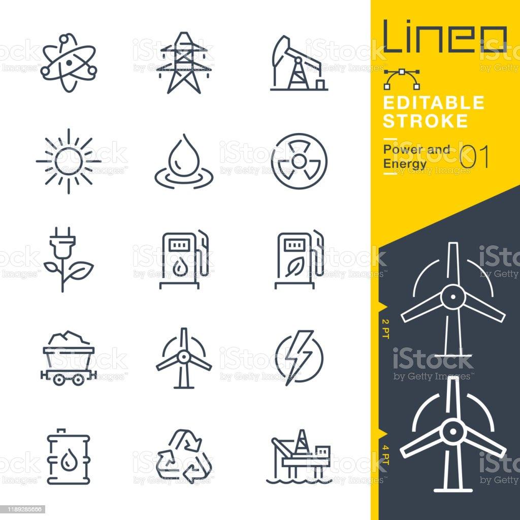 리노 편집 가능한 스트로크 - 전원 및 에너지 선 아이콘 - 로열티 프리 0명 벡터 아트