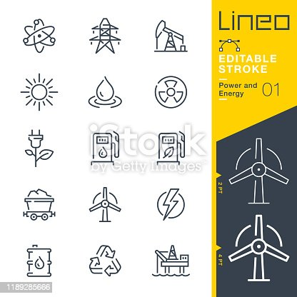istock Lineo Editable Stroke - Power and Energy line icons 1189285666