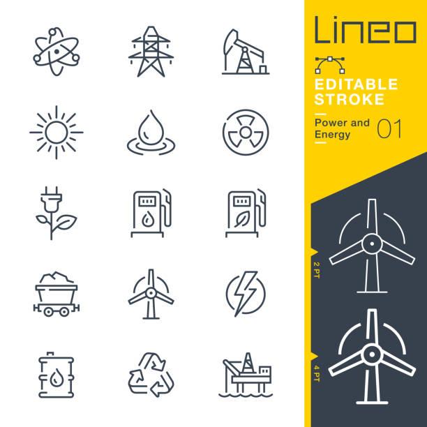 stockillustraties, clipart, cartoons en iconen met lineo bewerkbare lijn-stroom-en energie lijn pictogrammen - windmolen