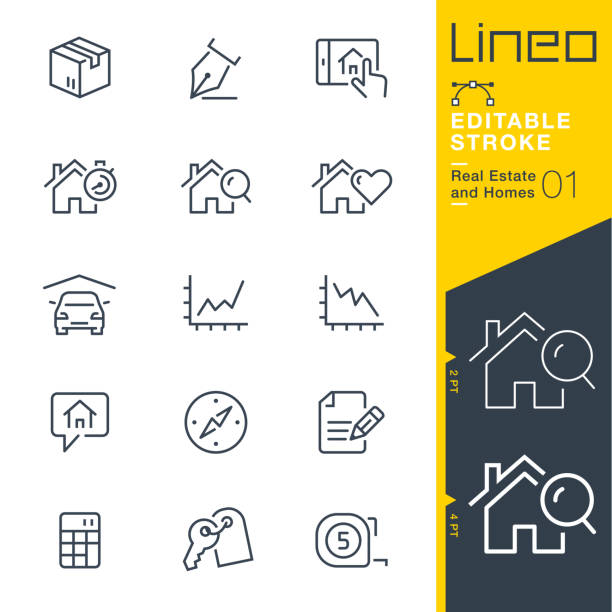 Lineo Editable Stroke - Real Estate and Homes line icons. Vector Icons - Adjust stroke weight - Expand to any size - Change to any colour conceptual symbol stock illustrations