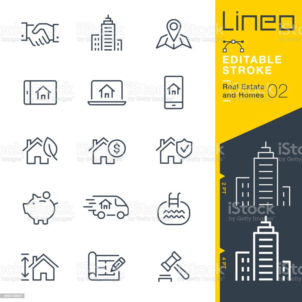 Lineo modifiable AVC - biens immobiliers et des maisons de ligne icônes. - Illustration vectorielle