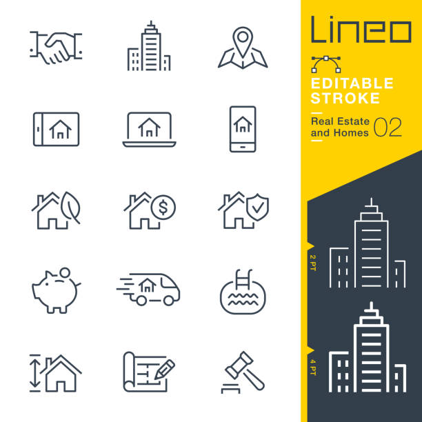 illustrazioni stock, clip art, cartoni animati e icone di tendenza di lineo editable stroke - real estate and homes line icons. - owner laptop smartphone