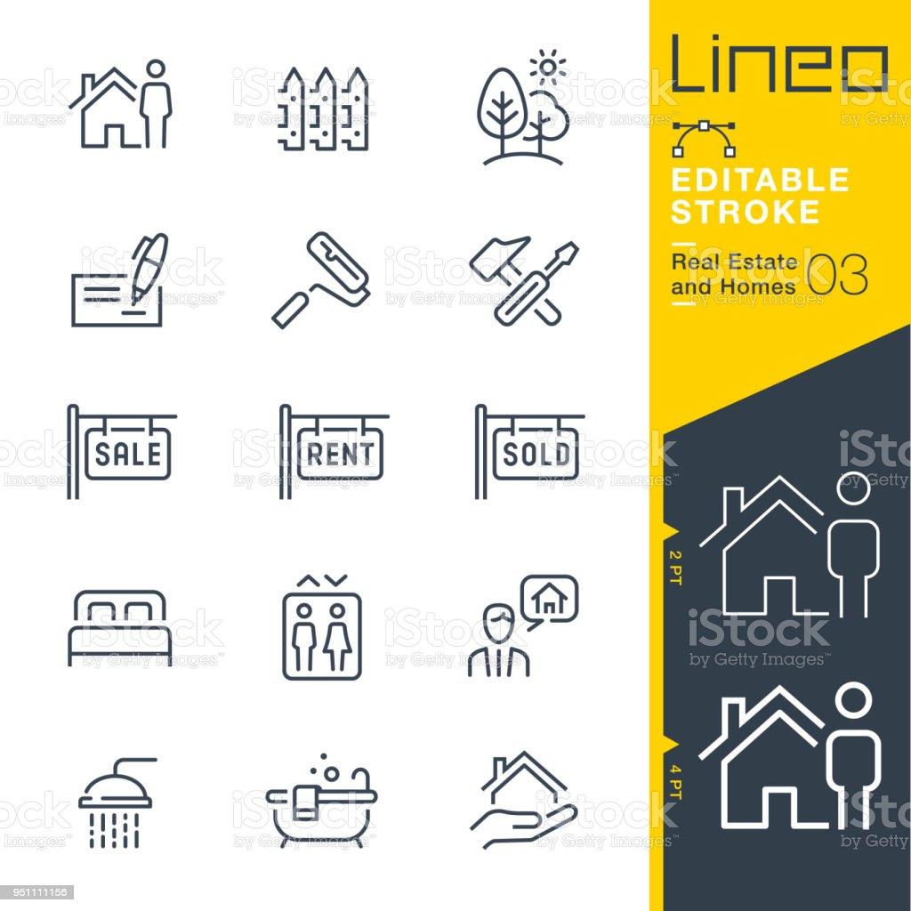Lineo editável Stroke - imóveis e casas linha de ícones. - ilustração de arte em vetor