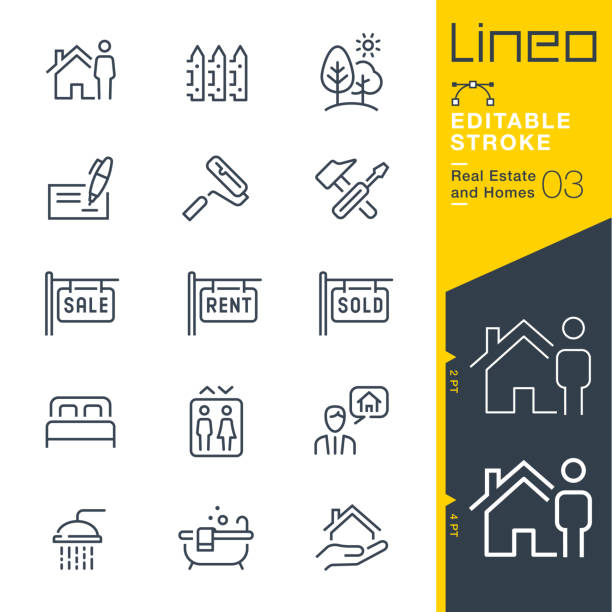 lineo editable stroke - real estate and homes line icons. - sprzedawać stock illustrations
