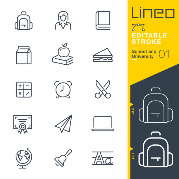 Lineo Editable Stroke - School and University line icons Vector Icons - Adjust stroke weight - Expand to any size - Change to any colour book symbols stock illustrations