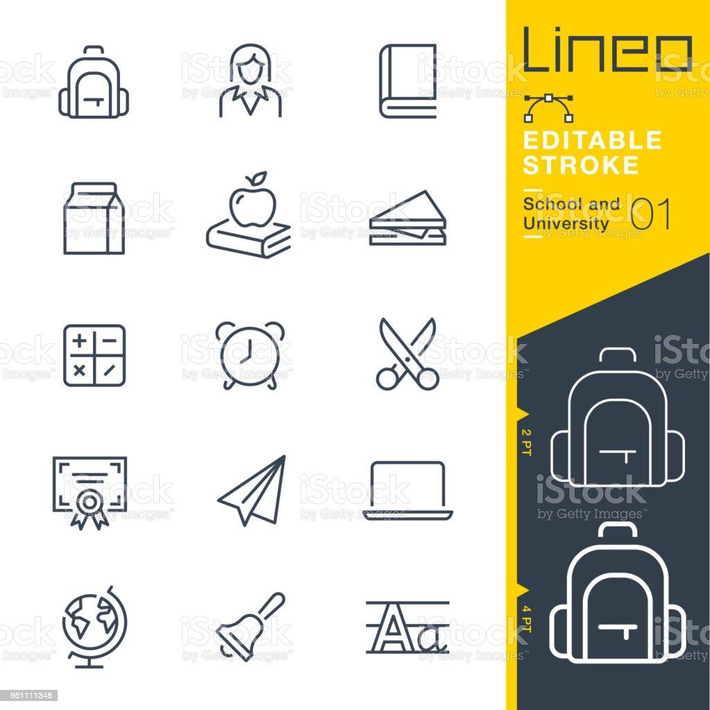 Lineo Editable Stroke - School and University line icons vector art illustration