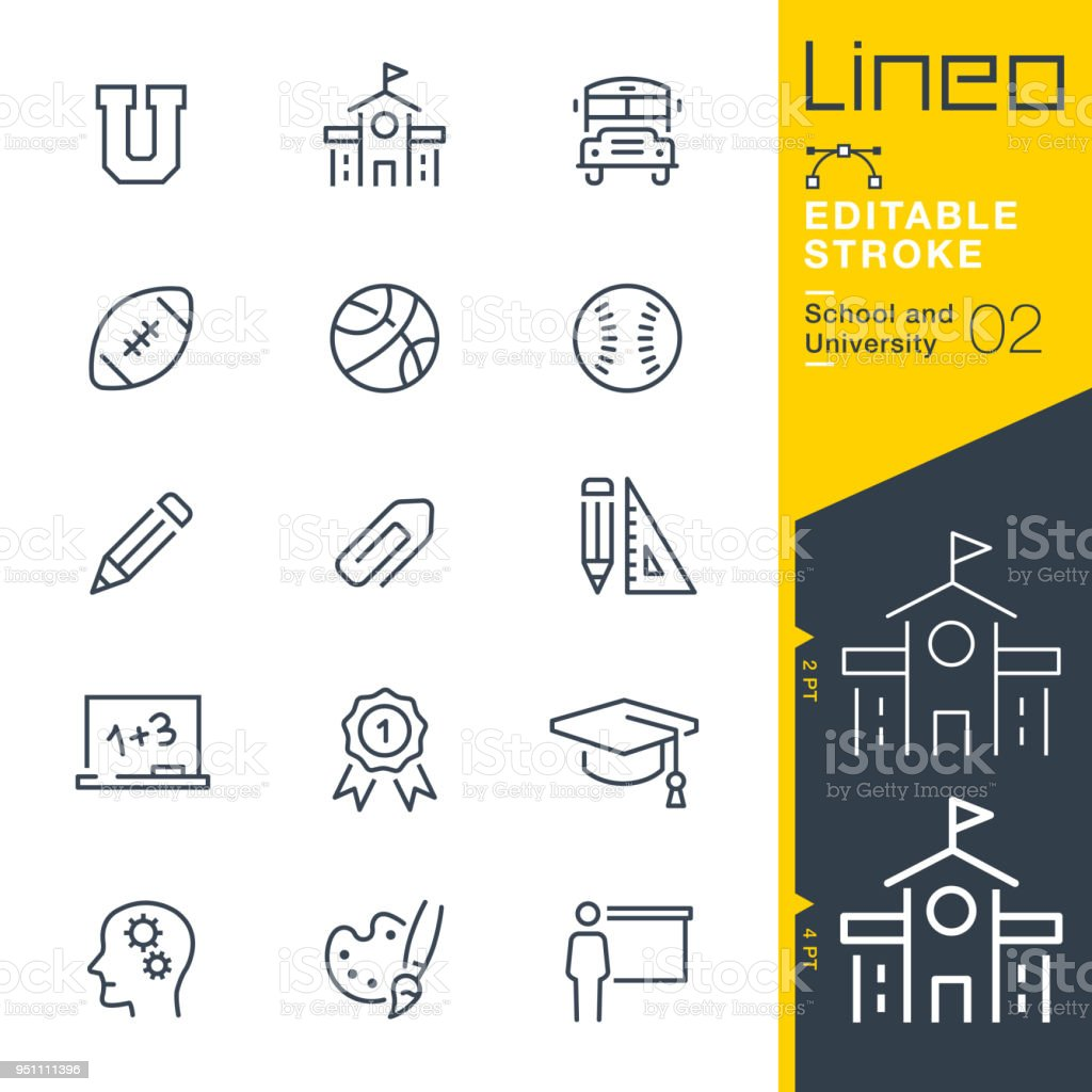 Lineo Editable Stroke - School and University line icons - Royalty-free American Football - Ball stock vector