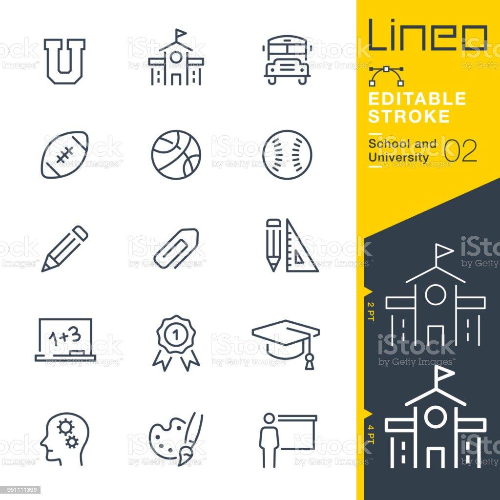 Lineo modifiable AVC - scolaire et universitaire line icônes - Illustration vectorielle