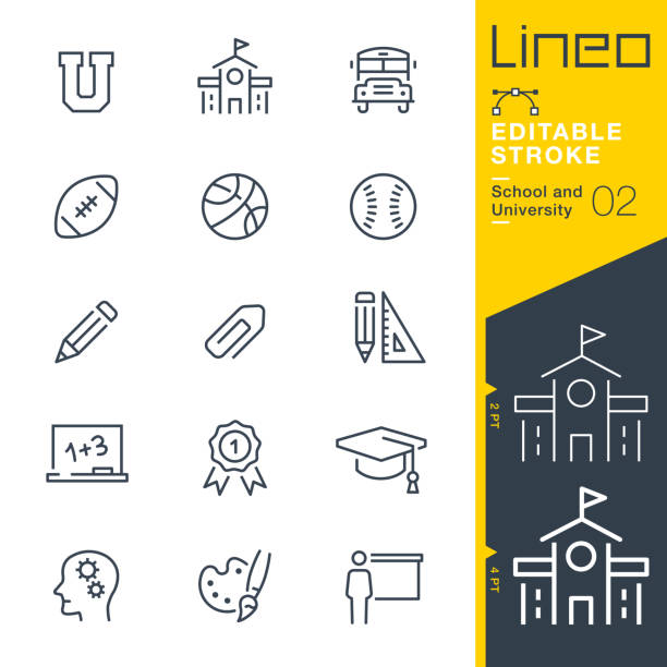 lineo editable stroke - school and university line icons - university stock illustrations, clip art, cartoons, & icons