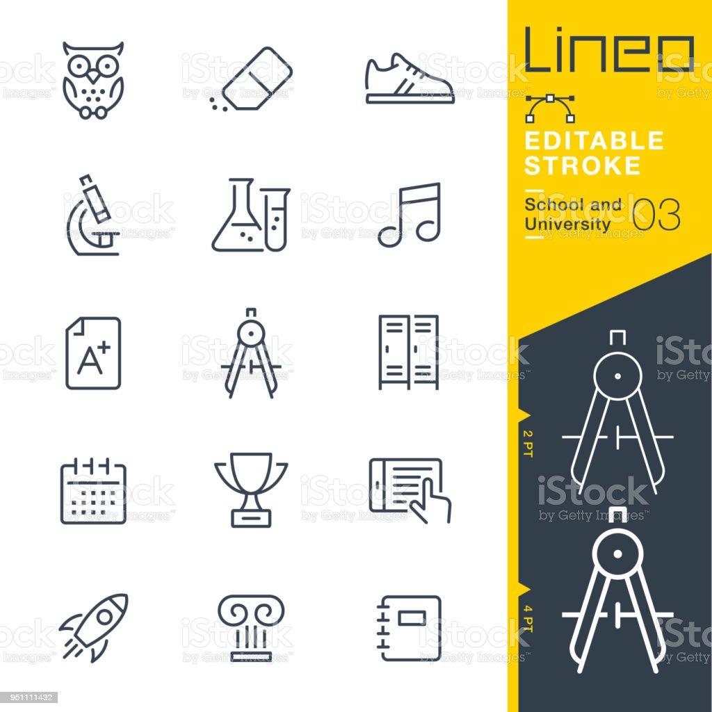 Lineo editierbare Schlaganfall - Schule und Universität Linie Symbole – Vektorgrafik
