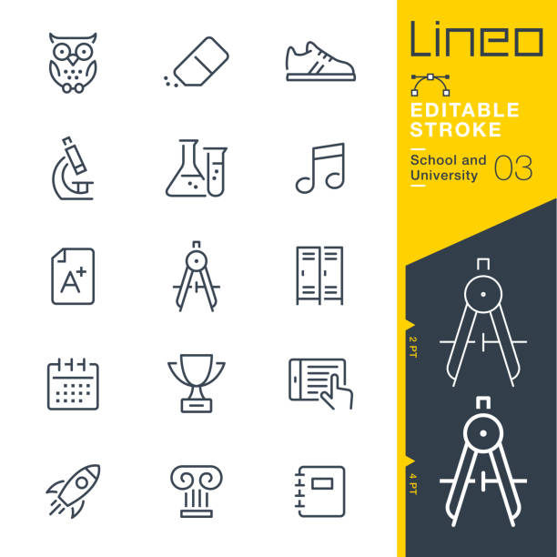 lineo editable stroke - school and university line icons - sowa stock illustrations
