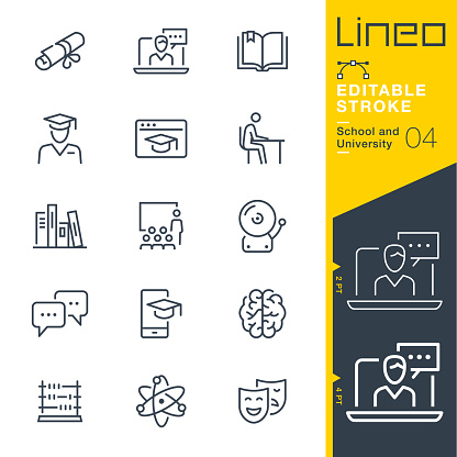 Lineo Editable Stroke - School and University line icons