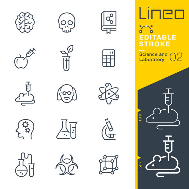 Lineo Editable Stroke - Science and Laboratory line icons Vector Icons - Adjust stroke weight - Expand to any size - Change to any colour hazardous chemicals stock illustrations
