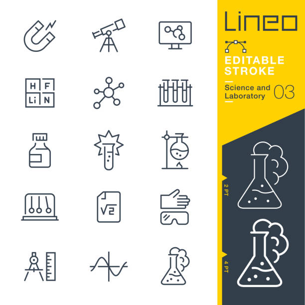 lineo editable stroke - science and laboratory line icons - astronomy telescope stock illustrations