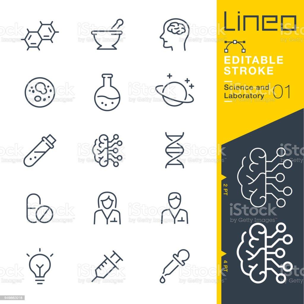 Lineo Editable Stroke - Science and Laboratory line icons - arte vettoriale royalty-free di Analizzare