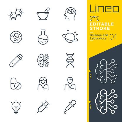 Lineo Editable Stroke Science And Laboratory Line Icons - Immagini vettoriali stock e altre immagini di Analizzare
