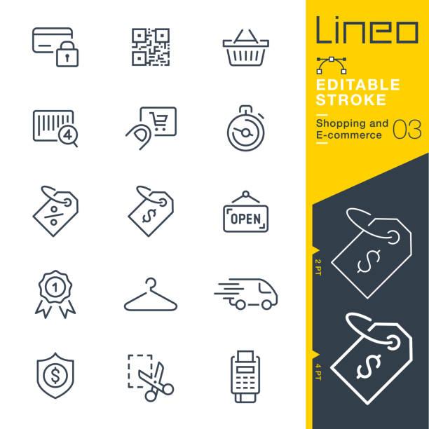 lineo editable stroke - ikony linii zakupów i e-commerce - handel detaliczny stock illustrations