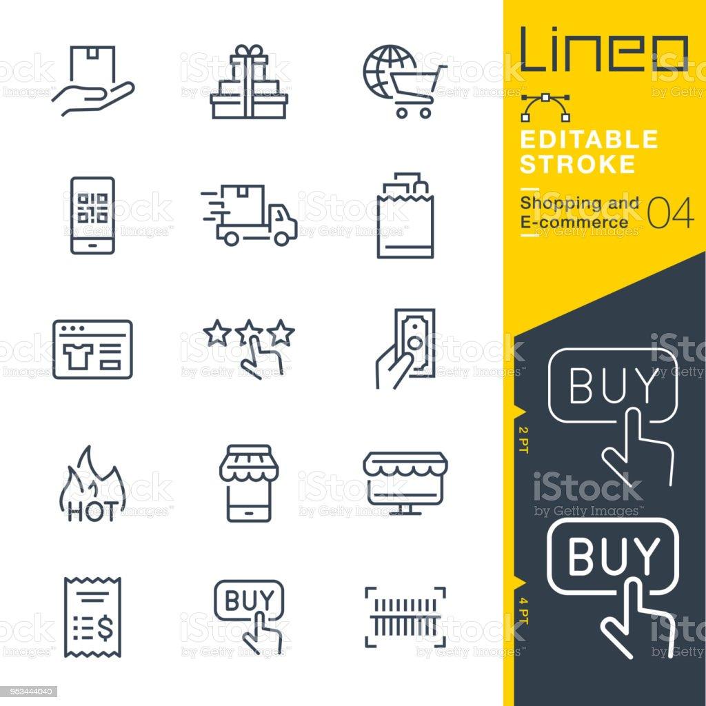 Tratto modificabile Lineo - Icone della linea di shopping ed e-commerce - arte vettoriale royalty-free di A forma di stella