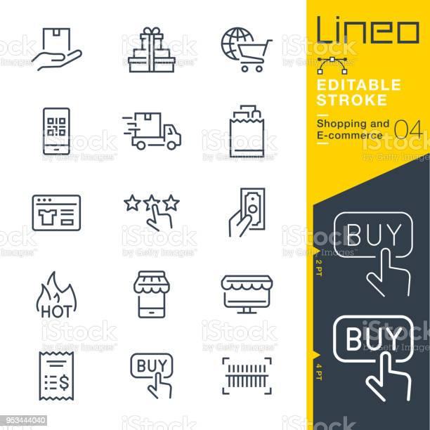 Tratto Modificabile Lineo Icone Della Linea Di Shopping Ed Ecommerce - Immagini vettoriali stock e altre immagini di A forma di stella