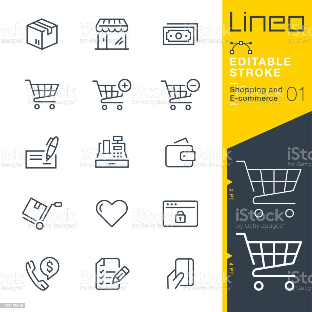Lineo Editable Stroke - Shopping and E-commerce line icons royalty-free lineo editable stroke shopping and ecommerce line icons stock illustration - download image now