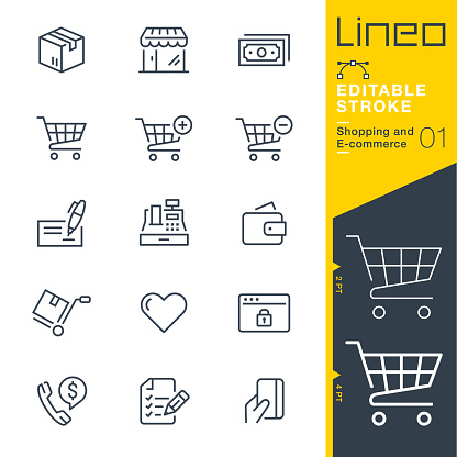 Lineo Editable Stroke - Shopping and E-commerce line icons clipart