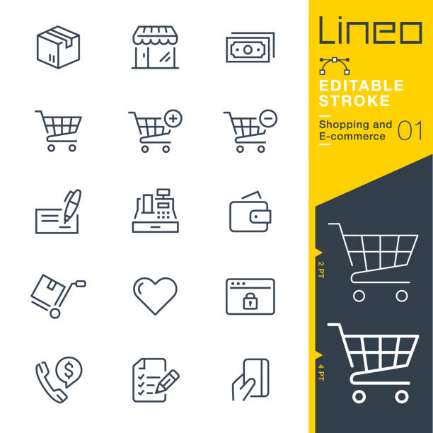 stockillustraties, clipart, cartoons en iconen met lineo bewerkbare stroke - shopping en e-commerce lijn pictogrammen - elektronische handel