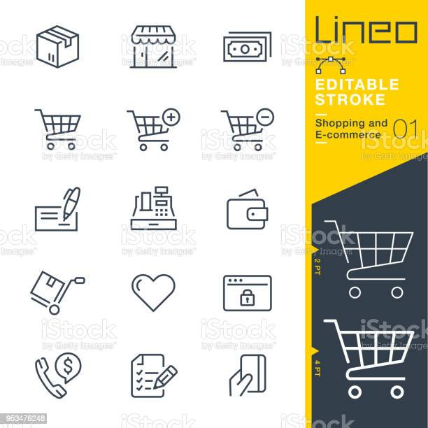 Lineo Editable Stroke Shopping And Ecommerce Line Icons - Arte vetorial de stock e mais imagens de Botão Gosto