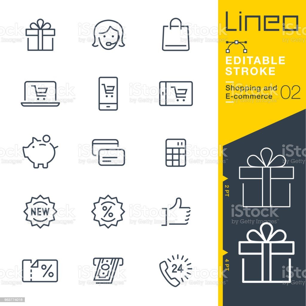 Lineo Editable Stroke - Shopping and E-commerce line icons vector art illustration
