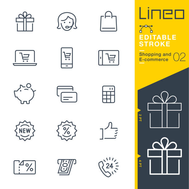 Lineo Editable Stroke - Shopping and E-commerce line icons Vector Icons - Adjust stroke weight - Expand to any size - Change to any colour e commerce stock illustrations