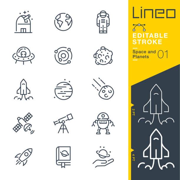 lineo editierbare schlaganfall - raum und planeten linie symbole - rakete stock-grafiken, -clipart, -cartoons und -symbole