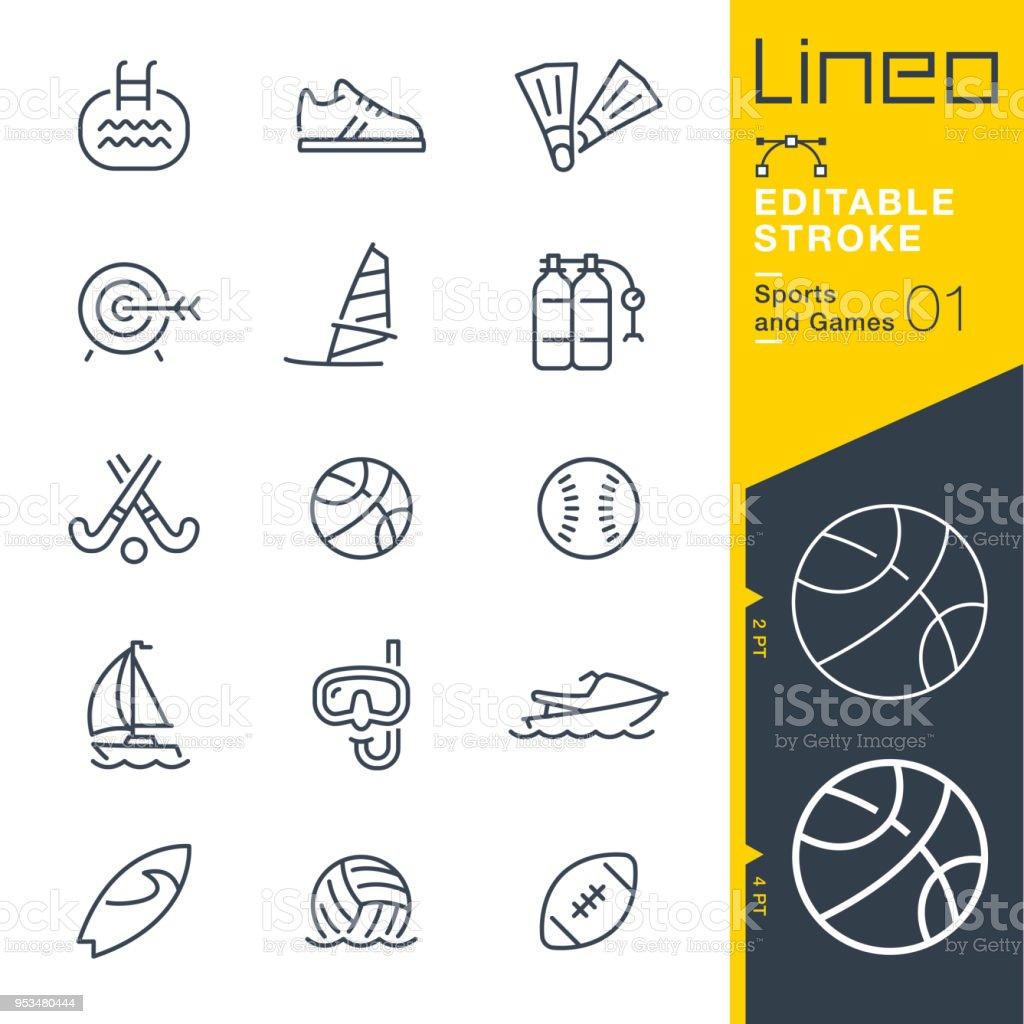 Lineo 編集可能なストロークのスポーツやゲーム線アイコン ベクターアートイラスト