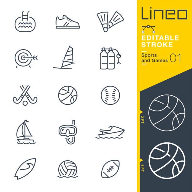 lineo editierbare schlaganfall - sport und spiel linie symbole - rugby stock-grafiken, -clipart, -cartoons und -symbole