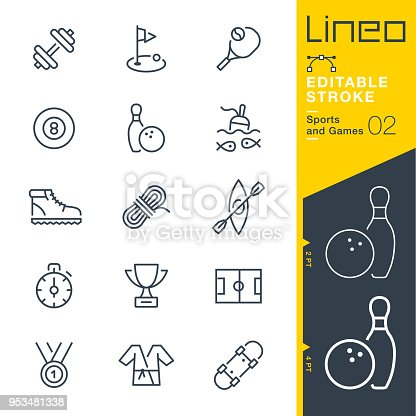 istock Lineo Editable Stroke - Sports and Games line icons 953481338