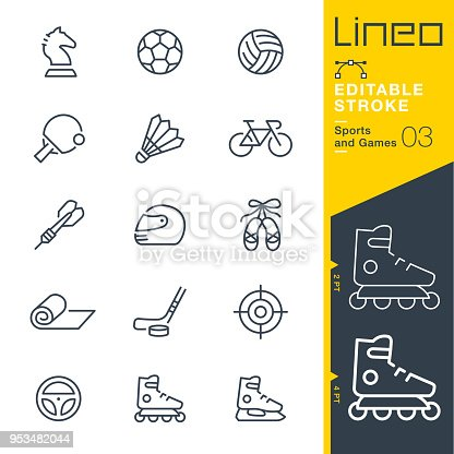 istock Lineo Editable Stroke - Sports and Games line icons 953482044